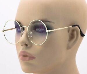 Oversized-Round-Eyeglasses-Gold-Clear-Lens-Retro-Women-Fashion-Lennon-Style