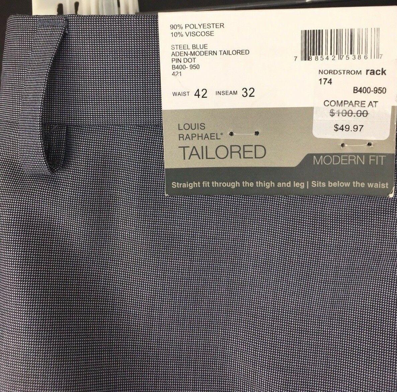 Louis Raphael Mens 42 x 32 bluee Pin Dot Tailored Dress Pants Modern Fit
