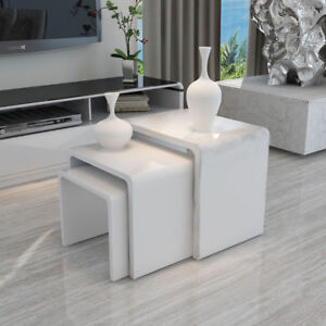 White modern high gloss nest of 3 coffee table side end table living room 699988398560 ebay for White end tables for living room