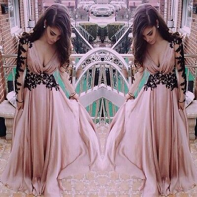 Womens Sexy Lace Long Evening Formal Party Cocktail Bridesmaid Prom Gown Dress