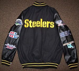 the latest 02862 31f4f Details about PITTSBURGH STEELERS CHAMPIONSHIP Wool Body Jacket w/ Faux  Leather Sleeves Jacket