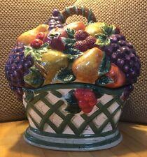 Raymond Waites Cornucopia Cookie Jar Fruit Grapes Apples Vintage Collectible