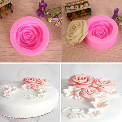 3D Rose Flower Decorating Tools Cutter Mold Sugarcraft Fondant Cake Baking Maker