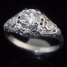 c.1920s Art Deco Old Cut Diamond 14k White Gold Ring Engagement Vintage Antique