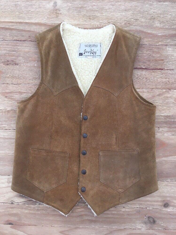 JOO-KAY Vintage USA WESTERN Suede Leather RANCHER VEST -Tan - Men's Size 40