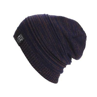 Knitted Unisex Mens Womens Winter Baggy Slouchy Solid Cotton Beanie Hat Ski Cap
