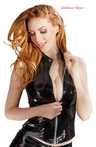 Sexy Top black Vinile Zip Davanti Colletto Rialzato Maglia Fashion GLAMOUR