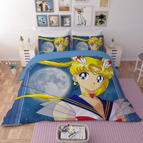 3D Sailor Moon Duvet Cover Bedding Set Beauty Girl Quilt Cover Set Pillow Case