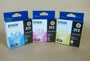[1312*] THREE (3x)  EPSON 312 INKS  -  C,M,Y    ( RRP>$57 )