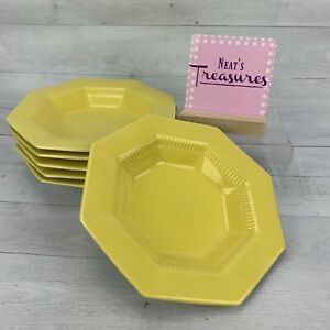 Independence-Ironstone-Interpace-DAFFODIL-YELLOW-Octagon-Rim-Soup-Bowls-Set-6
