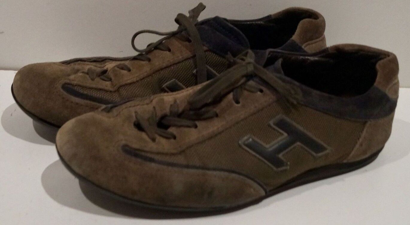HOGAN Menswear Brown & Black Suede Branded Lace Up Fastened Sneakers Shoes 7.5