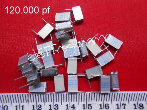 25pz X Condensatore Poliestere 120.000 pF picoFarad 250 volt passo 10