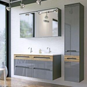 Details zu Badmöbel Set 6 tlg Badezimmer Waschbecken 120cm Spiegelschrank  Waschtisch Grau