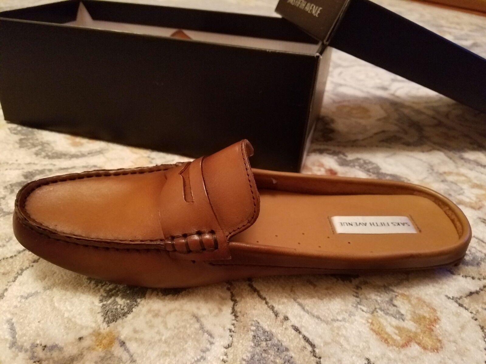 NEW BOX saks fifth avenue shoes leather flat mocassins slip on Lightwear loafers