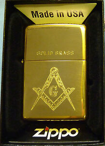 Polished Brass Zippo Lighter with Masonic Logo - With Free Engraving