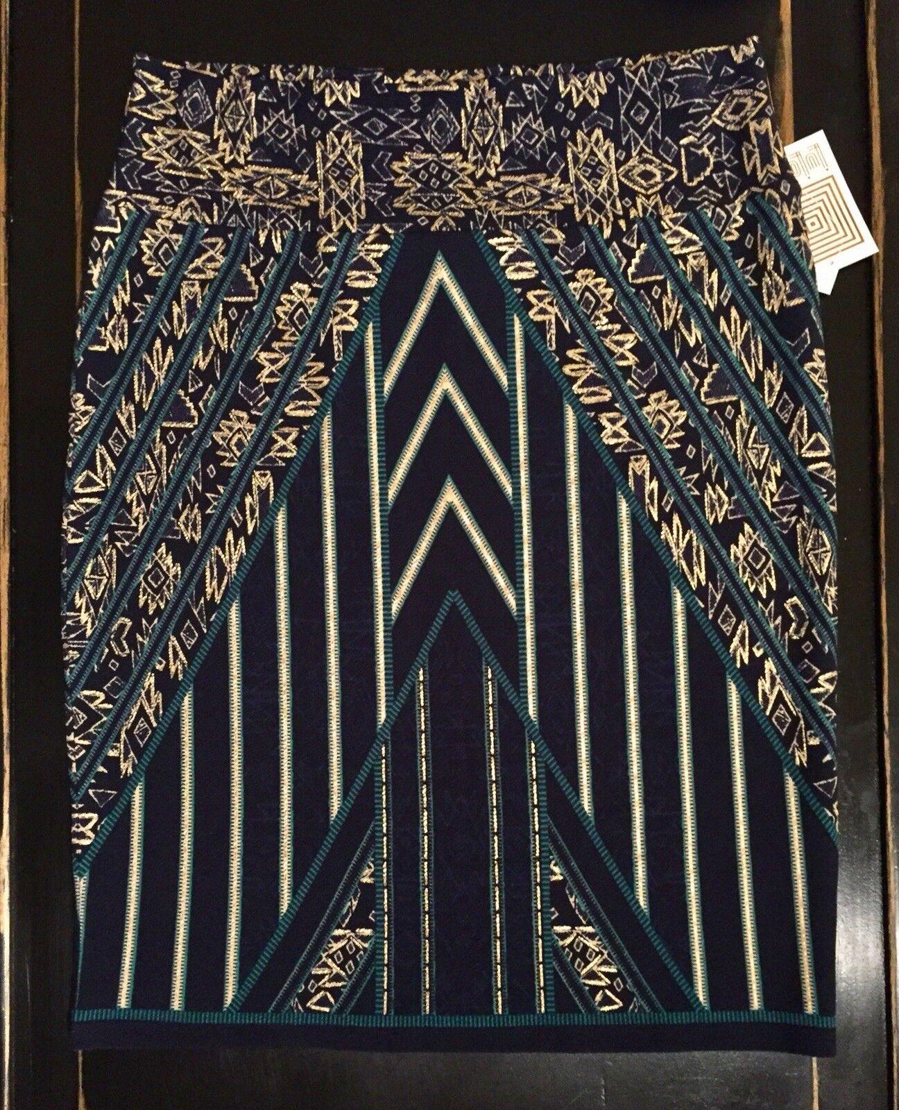NWT XL Teal gold LuLaRoe Stripes AZTEC Egyptian CASSIE Pencil Skirt ELEGANT