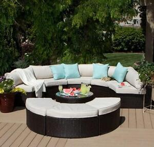 Details About 9 Piece Outdoor Sectional Sofa Table Ottomans Curved Patio Deck Furniture Set