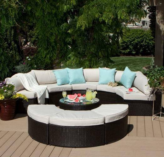 9 Piece Outdoor Sectional Sofa Table Ottomans Curved Patio Deck Furniture  Set