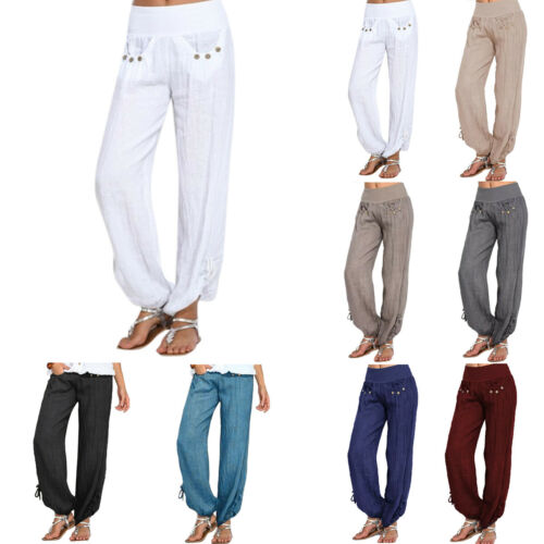 Women Plus Size Plain Strappy Loose Trousers Casual Palazzo Baggy Harem Pants