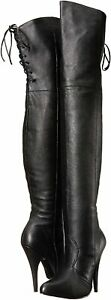 Pleaser-Womens-Legend-8899-Over-The-Knee-Black-Leather-Boots-Size-6-M-US