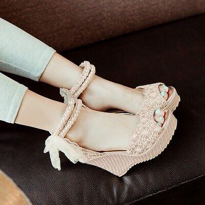 Lolita Womens Lace Platform Peep Toe Wedge Heel Roma Mary Janes Shoes Plus Size