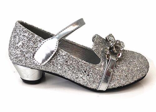 Kids Girls Patent Glitter Wedding Bristal Smaid Diamante Low Heel Party Shoes