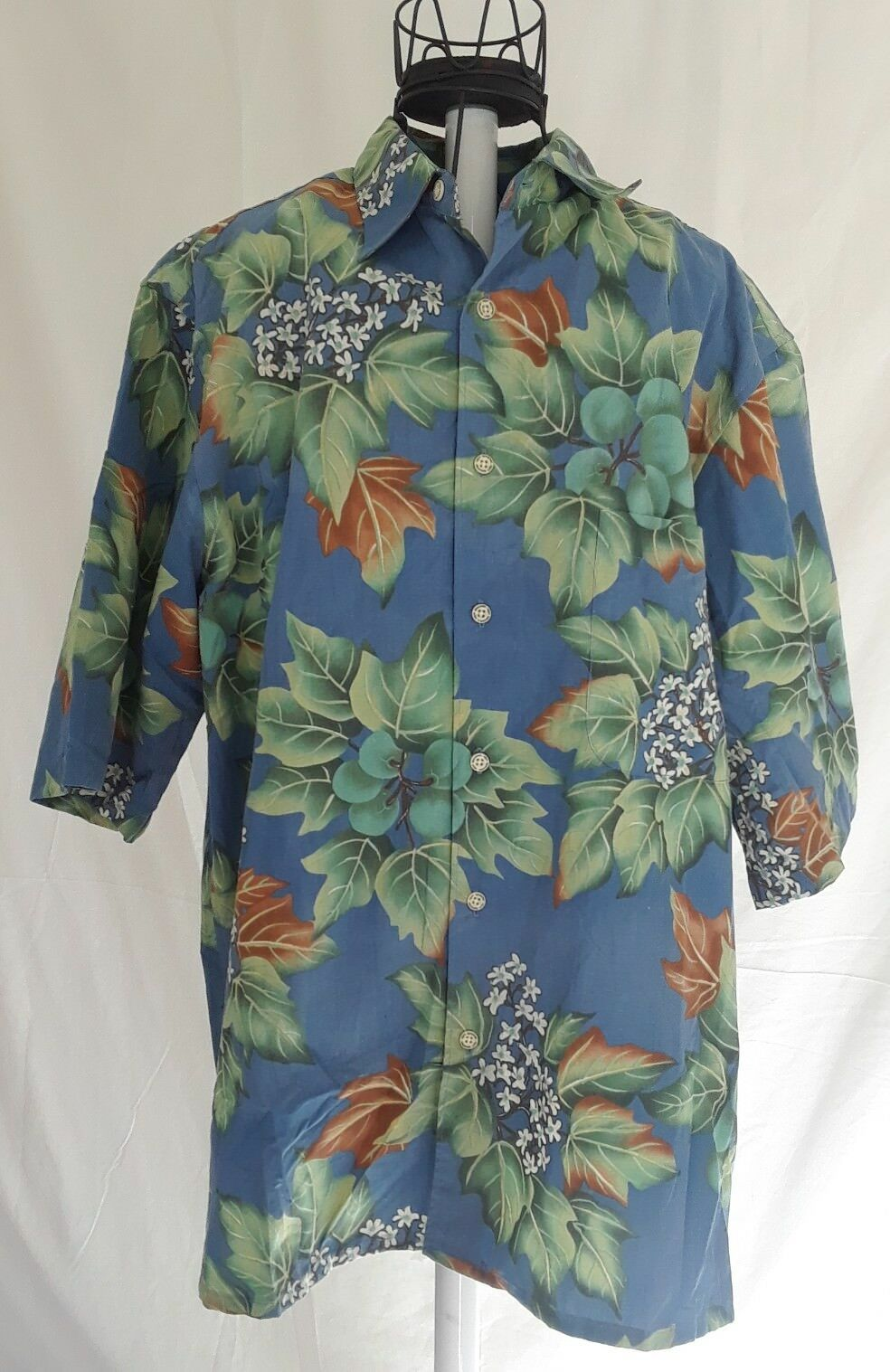 f566fd54 Reyn Spooner Hawaiian Shirt Mens Medium Floral Reverse Print Korea Vintage  bluee neequu6662-Casual Shirts & Tops