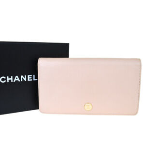 Authentic-CHANEL-CC-Logo-Long-Bifold-Wallet-Purse-Leather-Pink-Italy-69BJ296
