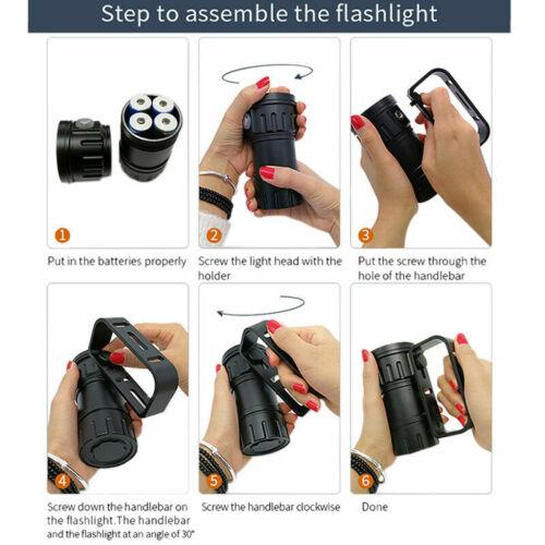 Underwater Scuba Diving Flashlight Waterproof Light Torch Photography Video Lamp