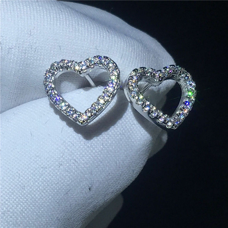 0.75Ct Round Cut VVS1 D Diamond Heart Stud Earrings Solid 14K White gold Finish