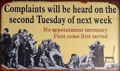 Complaints FUNNY TIN SIGN metal poster vintage bar office garage wall decor OHW