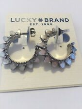 $25 Lucky Brand Silver Tone Spike Open Hoop Earrings 635