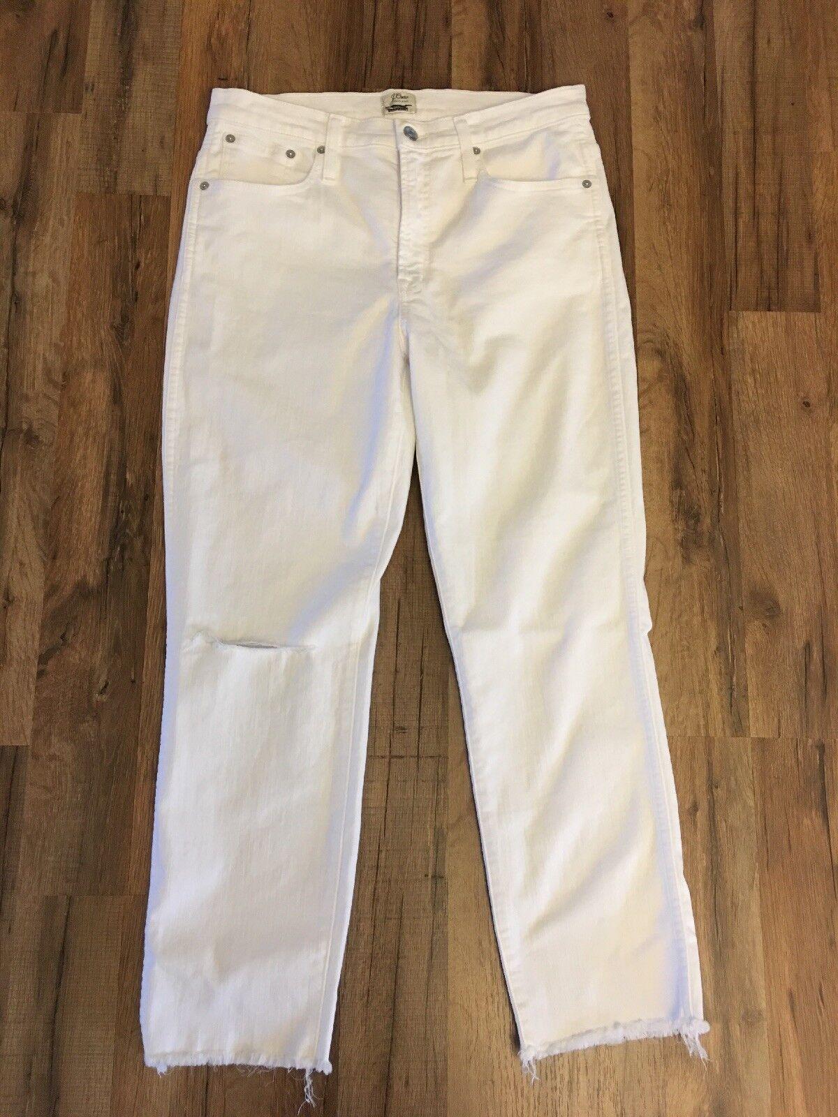 New J Crew Vintage Straight Jean in White with Raw Hems Sz 30 J2378