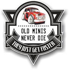 Old Minis Never Die Slogan & Classic Mini Cooper Works Koolart image Car Sticker