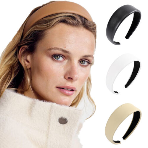 Fashion Women/'s Leather Headband Hairband Wide Hair Band Hoop Accessories Party