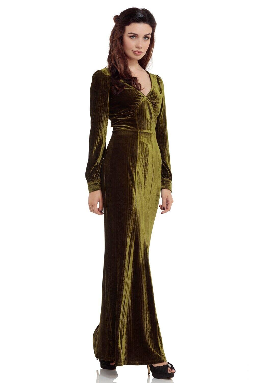 Voodoo Vixen Green Maxi Embossed Dress 1930S Vintage DRA8239 Party Event S-XXL