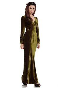 Voodoo-Vixen-Green-Maxi-Embossed-Dress-1930S-Vintage-DRA8239-Party-Event-S-XXL