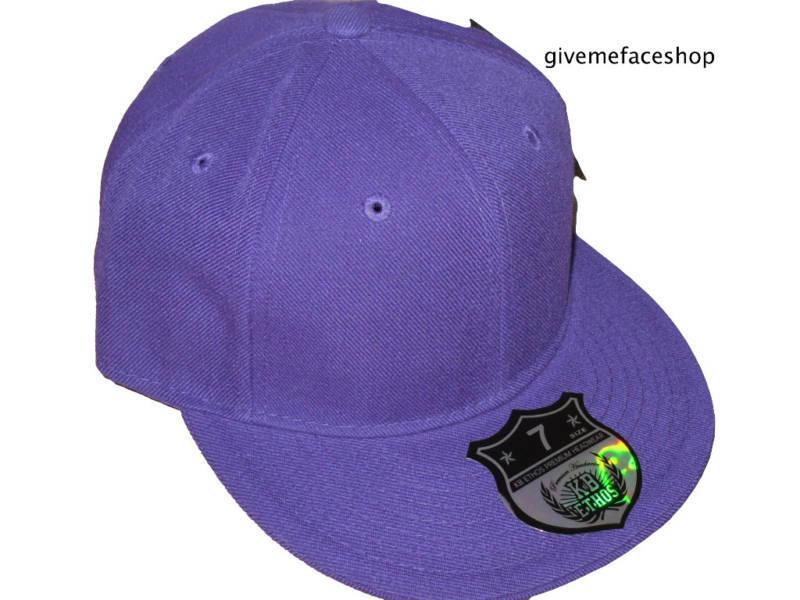 Brandneu Einfarbig Enganliegende Mütze Ethos Flat Peak Lila Herren Damen Hip Hop