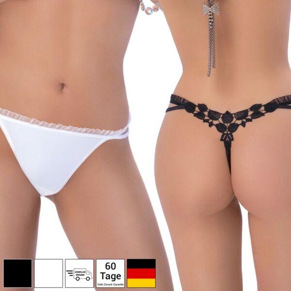 Sexy String Spitze Unterwäsche Tanga Hochzeit Dessous Lingerie – Schwarz Weiß