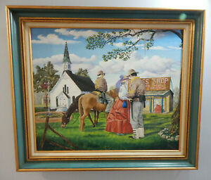 LONG GOODBYE original oil on canvas painting horses soldiers US CIVIL WAR signed