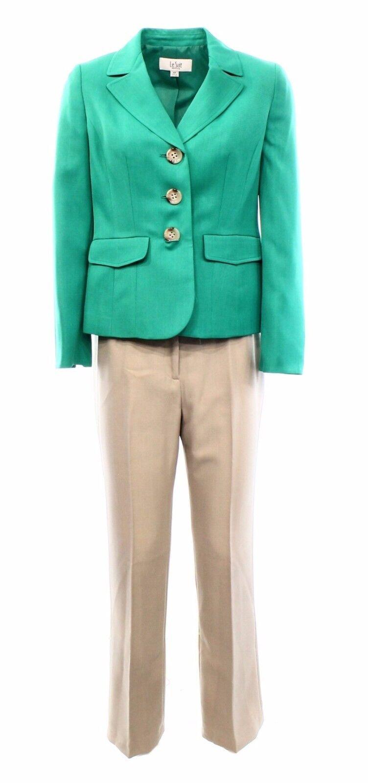Le Suit NEW Kelly Green 3-Button Women's Size 4 Khaki Pant Suit Set