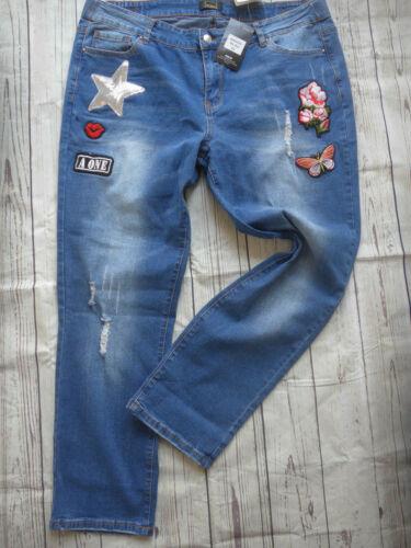 Maloo 54 Größen Gr40 Ton Blau Damen Jeans Mit Aufnähern624Große Hose Bis nk0w8OP