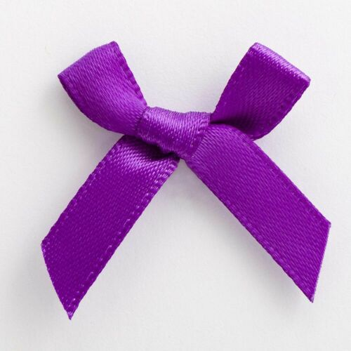 6mm Satin Bows 3cm Wide Pack of 100 Purple 7930
