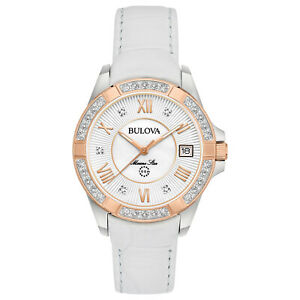 Bulova-Women-039-s-Quartz-Marine-Star-Diamond-Accent-White-Leather-32mm-Watch-98R233