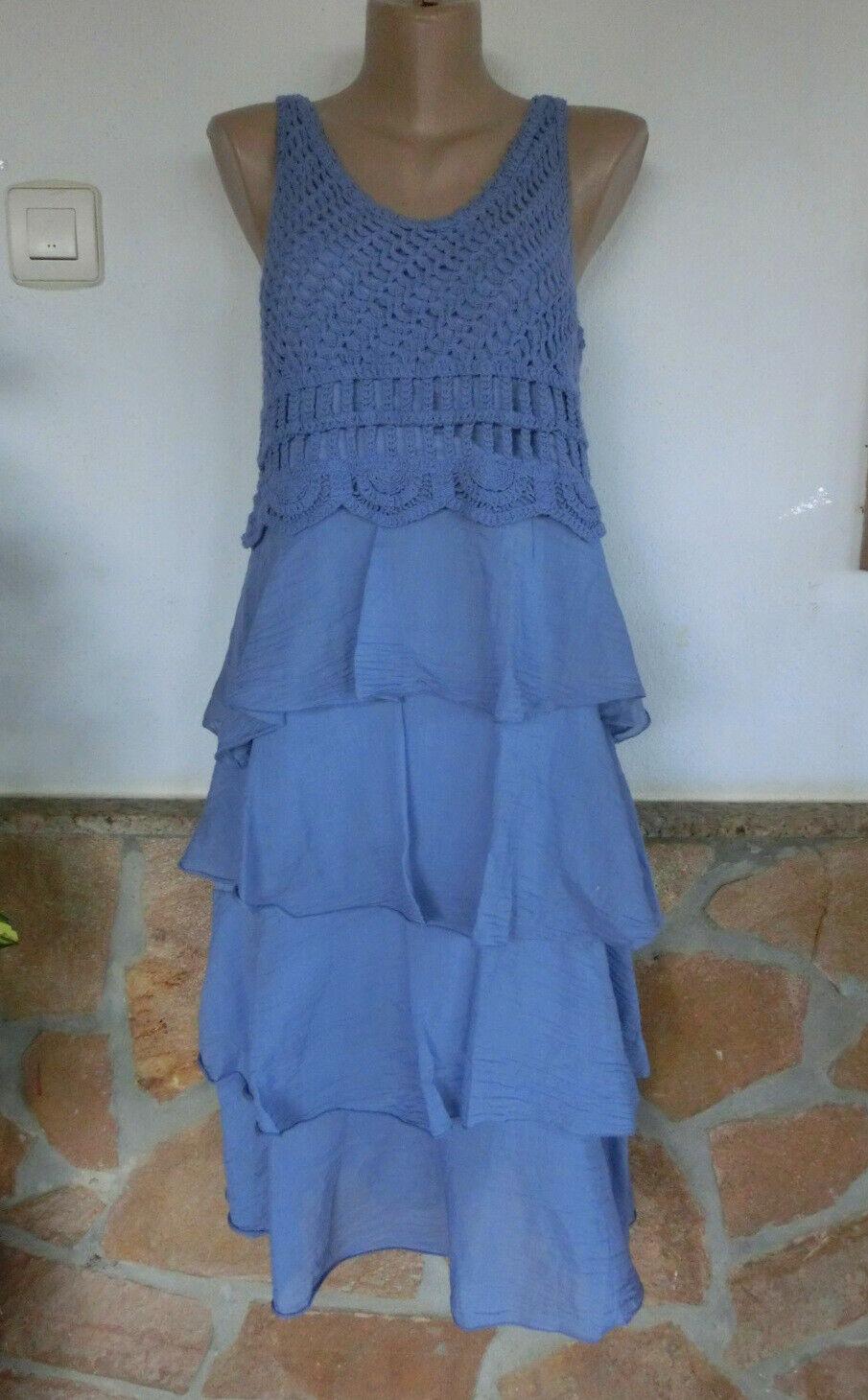 Kleid Elisa Süß BeInn Häkeloberteil Volants Seide Viskose blue EG 38-40-42
