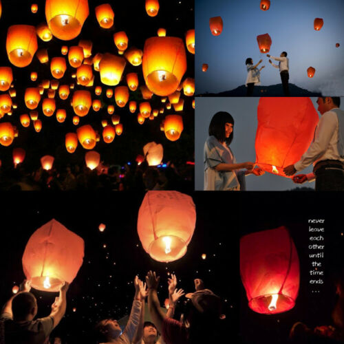 Paper Flying Lanterns Fly Candle Lamps Christmas Party Weddings 10 Piece