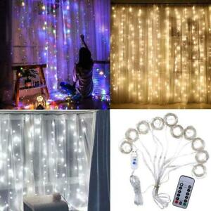 3M-300-LED-Window-Curtain-Icicle-String-Fairy-Lights-Wedding-Party-Decor-Remote