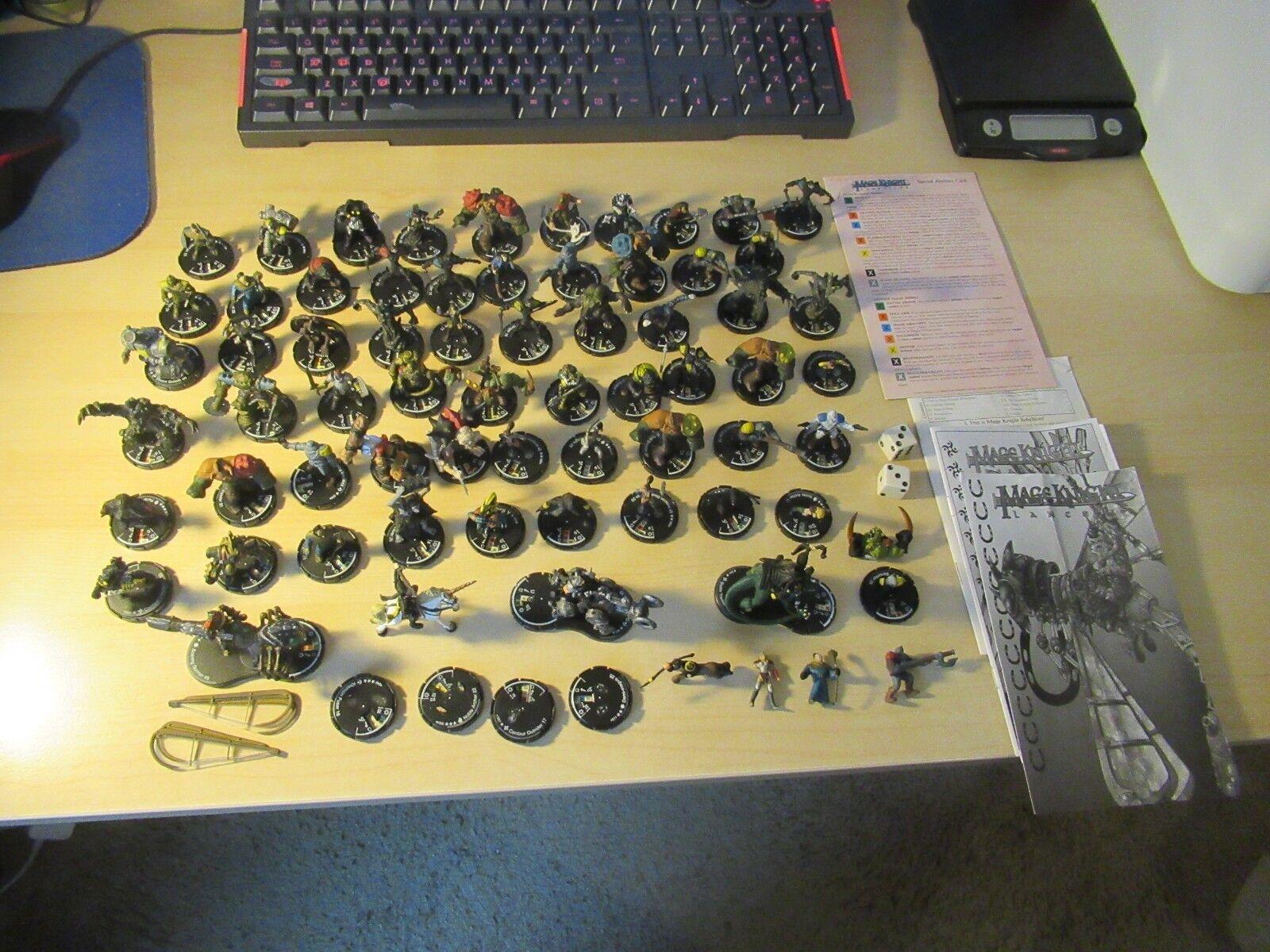 Enorme 68 piezas Mage Knight LOT Figuras Miniatura montado rebelión Lancers y más