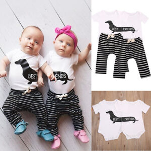 605db9977 Matching Best Friends Newborn Baby Boy Girl Romper Tops+Pants Outfit ...