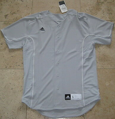 ADIDAS BASEBALL PLAYERS S/S VARSITY JERSEY BLANK GREY LIGHT ONYX L LG LARGE